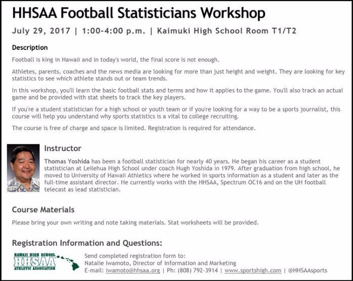 HHSAA hosting football stats workshop on July 29 - ScoringLive